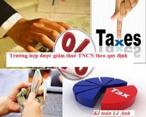quy định giảm thuế tncn