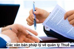 Các văn bản pháp lý về quản lý Thuế