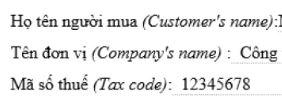 Chữ hiển thị trên hóa đơn điện tử