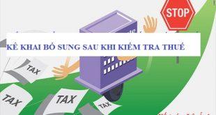 kê khai bổ sung sau khi kiểm tra thuế