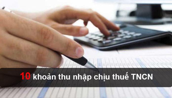 Những khoản thu nhập chịu thuế TNCN