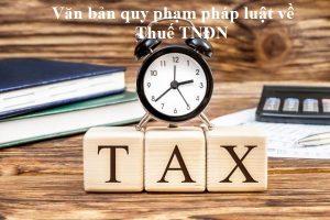 Văn bản quy phạm pháp luật về thuế TNDN